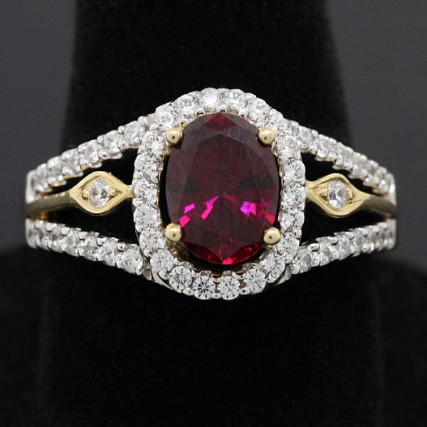 Oval-Cut Ruby Two-Tone Ring - 14k White and Yellow Gold - Ring Size 7.0