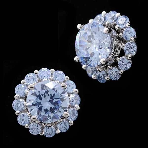 Prehistoric Glacial Ice Studs with Matching Earring Jacket - 14k White Gold