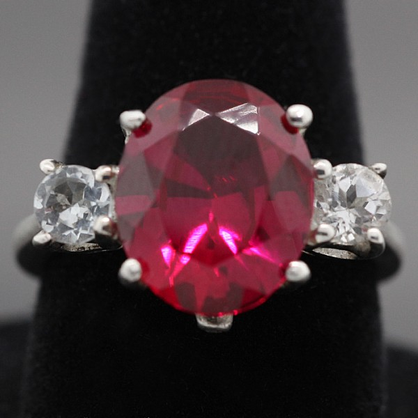 Oval Cut Ruby Ring - Sterling Silver - Ring Size 7.0