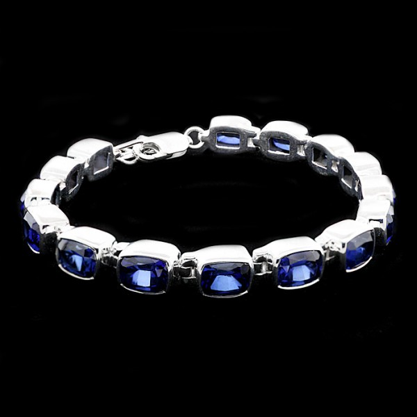 Sapphire Bracelet with Radiant Cut Stones - Sterling Silver