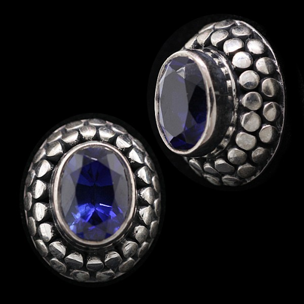 Sapphire Oval Cut Earrings - Sterling Silver - 1.21 Carats Each