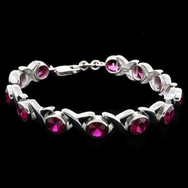 Round Brilliant Ruby Bracelet - Sterling Silver