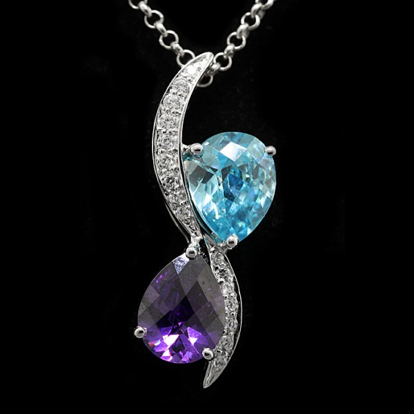 Pear Cut Amethyst and Blue Topaz Pendant - 14k White Gold