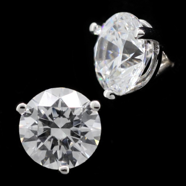Round Cut Studs, Martini Set, Tension Back - 1.49 Carats Each - 14k White Gold