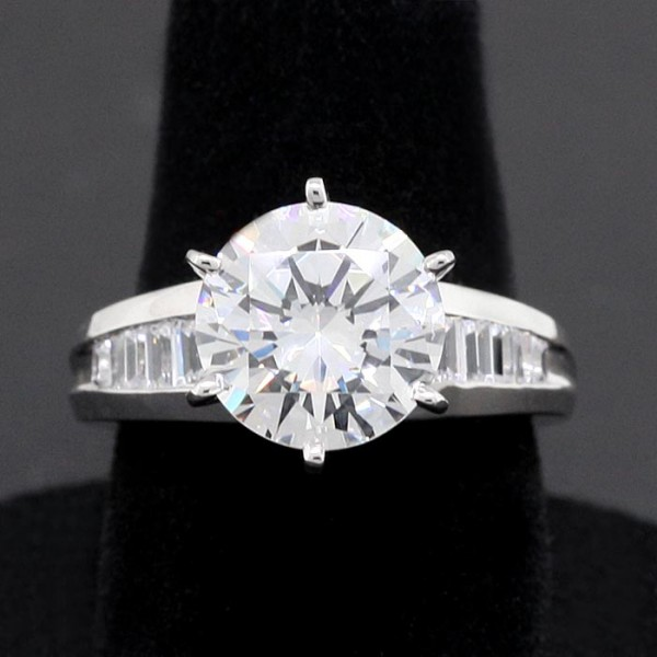 Bagette accented Ring with 3.87 Round Center - 14k White Gold - Ring Size 7.0