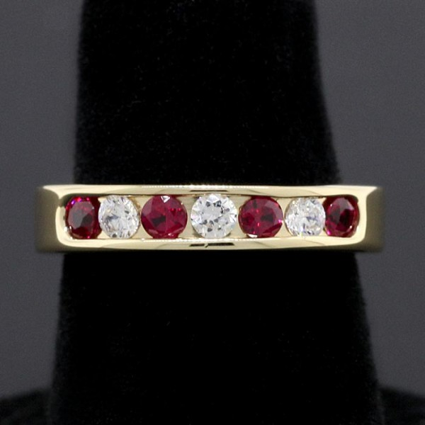 Wedding Band with White and Ruby Accents - 14k Yellow Gold - Ring Size 4.5-6.0