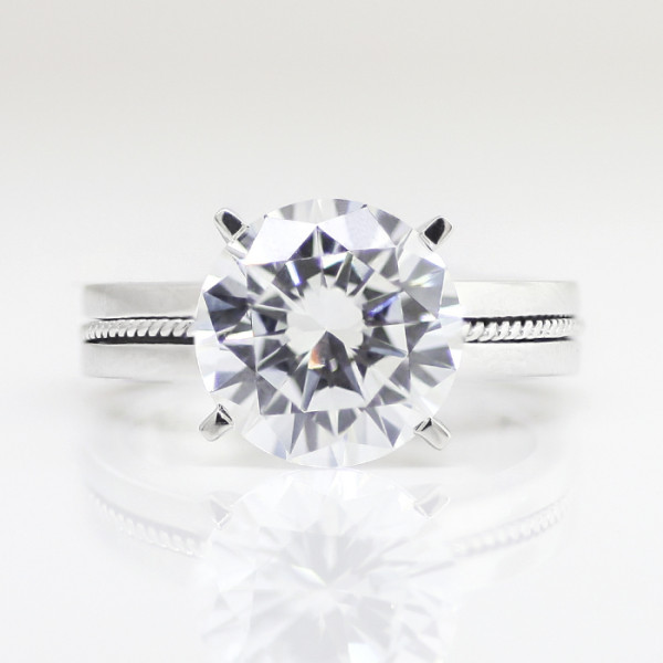 Elaborate Square Base with 4.91 carat Round Brilliant Center - 14k White Gold - Ring Size 6.5-8.5