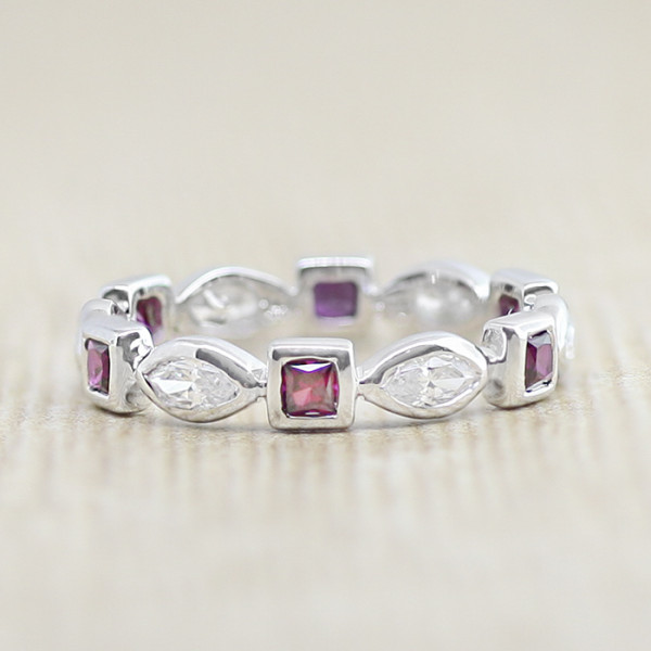 Elements with Ruby Accents - 14k White Gold - Ring Size 5.0