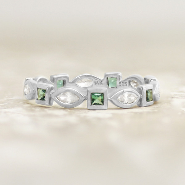 Elements with Emerald Accents - 14k White Gold - Ring Size 7.0