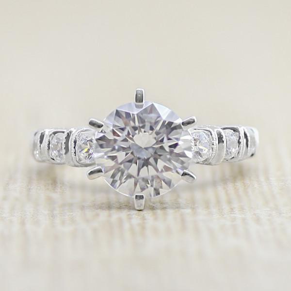 Elise with 2.04 carat Round Brilliant Center - 14k White Gold - Ring Size 4.75