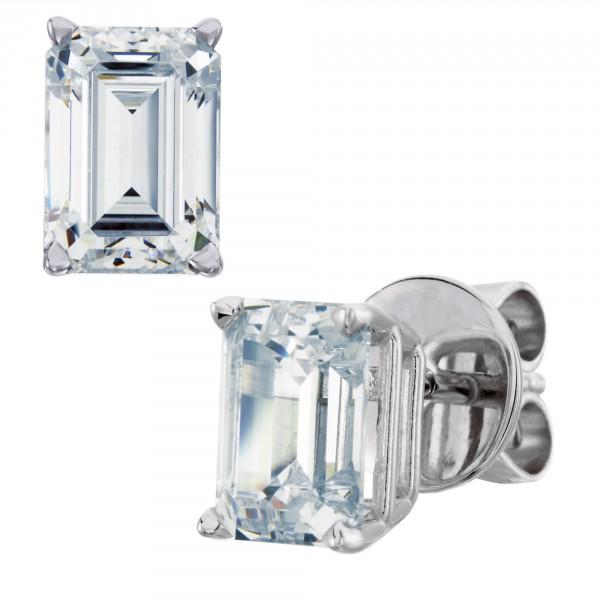 Emerarld Cut Stud Earrings, Tension Back, Basket Set - 0.66 carat each