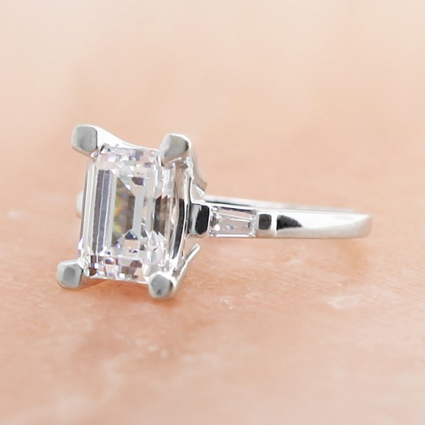 Endless Days with 2.62 Emerald Cut Center Stone - 14K White Gold- Ring Size 4.5