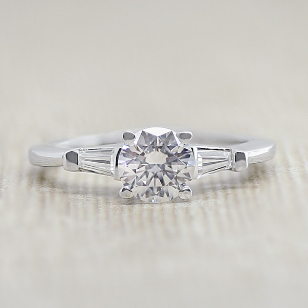 Endless Days with 0.76 carat Round Brilliant Center - 14K White Gold - Ring Size 5.75-7.00
