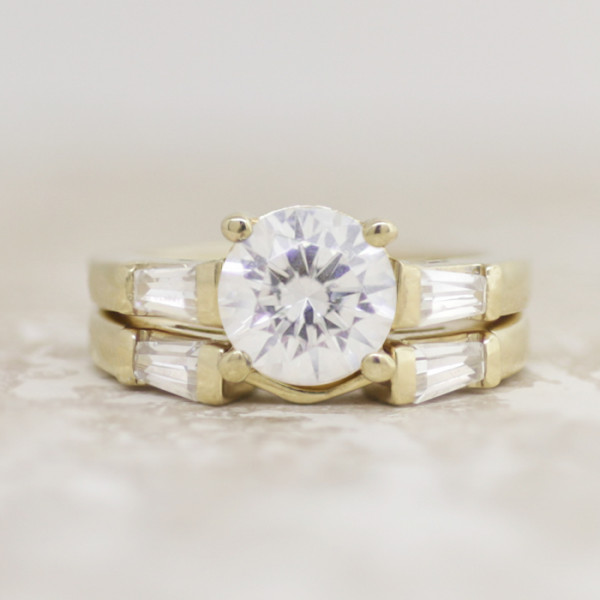 Endless Days with 2.04 carat Round Brilliant Center and One Matching Band - 14k Yellow Gold - Ring Size 9.0-10.0