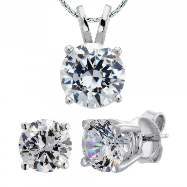 Four-Piece Round Cut Set with 0.84 Carat Studs and 1.28 Carat Pendant - 14k White Gold