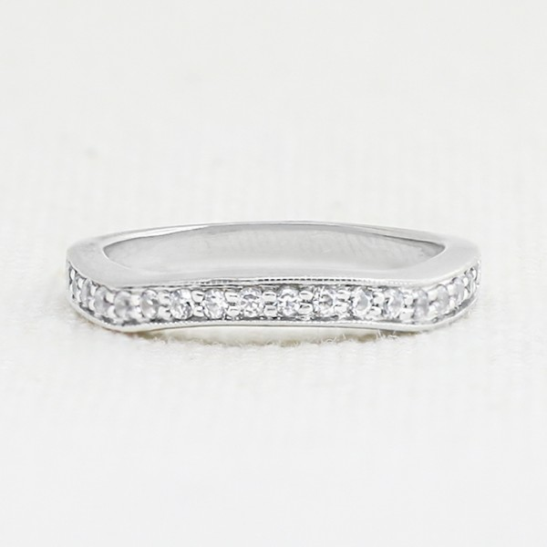 French Quarter Band with 0.27 Total Carats - 14k White Gold - Ring Size 6.5-9.25