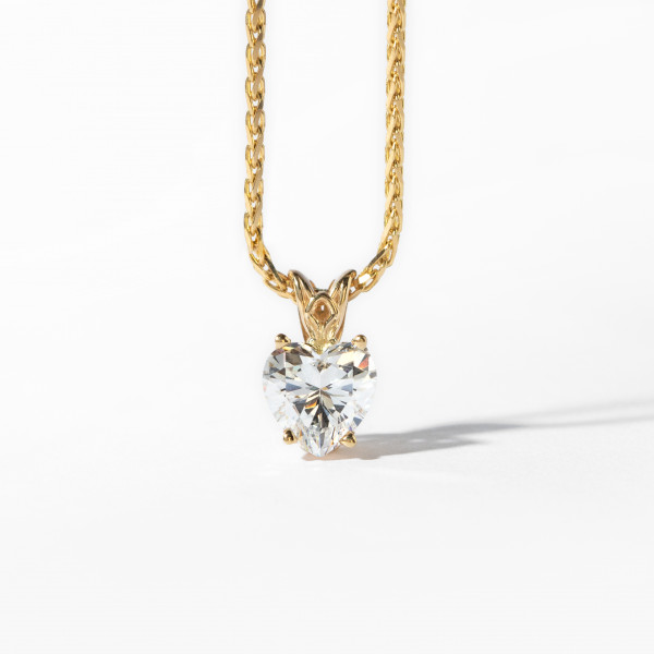 "Heart Cut Filigree Necklace with 1.71 Carat Center - 14k Yellow Gold - 16"" Wheat Chain"