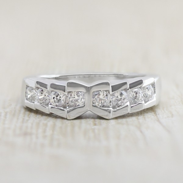 Helix Matching Band - 14k White Gold - Ring Size 7.0-10.0