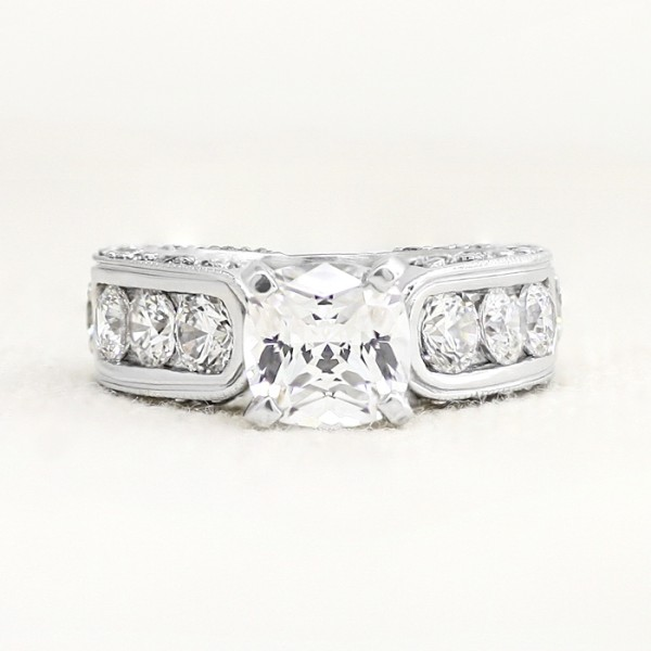 Retired Model Hypnotique with 1.67 carat Cushion Center - 14k White Gold - Ring Size 5.75-6.75
