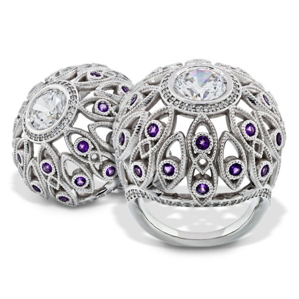 Amethyst Dome Ring with Round Cut Center - 14k White Gold