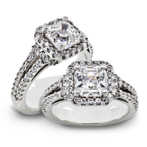 Asscher Cut Halo Engagement Ring with Split Band - 18k White Gold