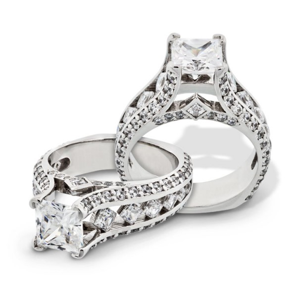 Princess Cut Engagement Ring with Kite-Set Accents - 14k White Gold