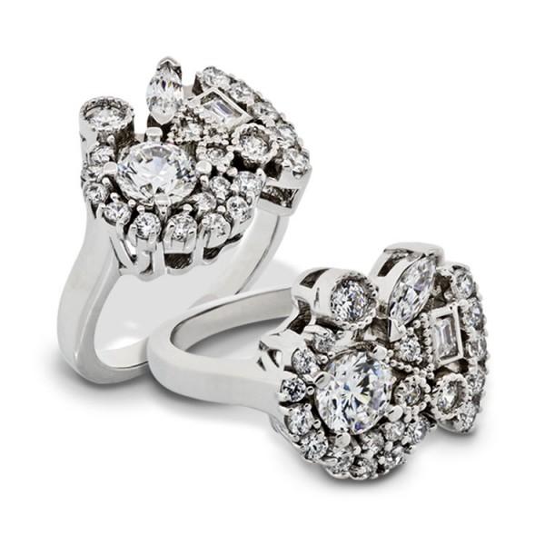 Multi-Cut Cluster Ring - 14k White Gold