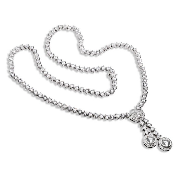 Ornate Vintage Style Necklace - 14k White Gold