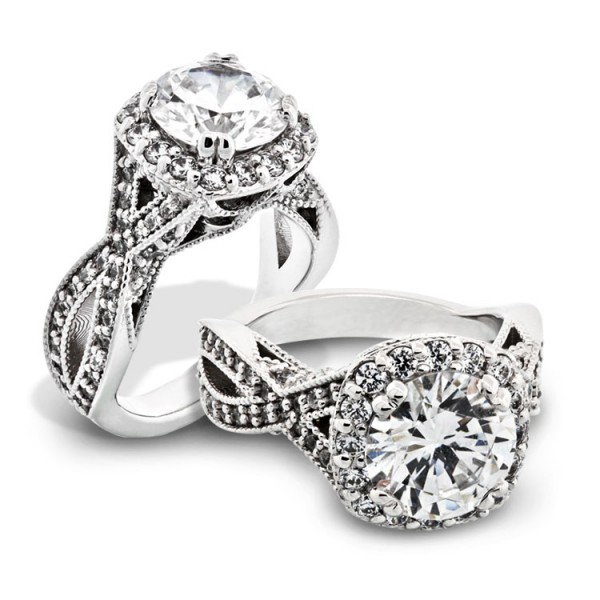 Ornate Halo Engagement Ring with Twisted Band - 14k White Gold