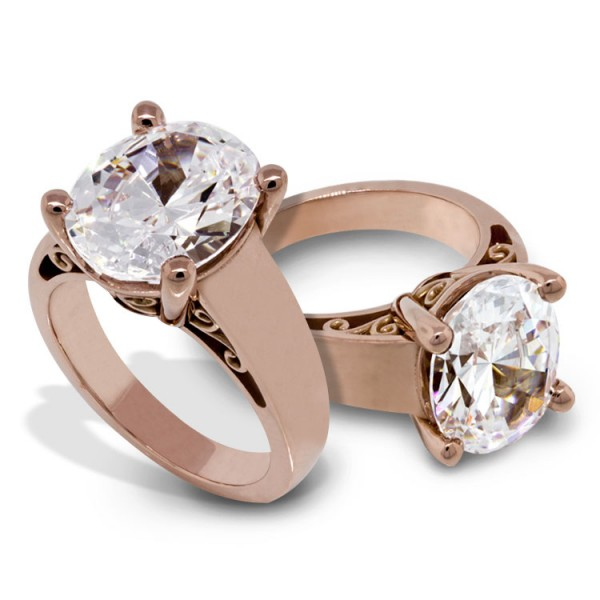 Oval Solitaire Engagement Ring with Ribbon Detailing - 14k Rose Gold