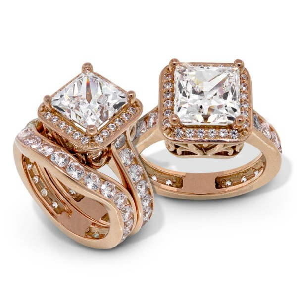 Princess Cut Halo Engagement Ring and Matching Band - 18k Rose Gold