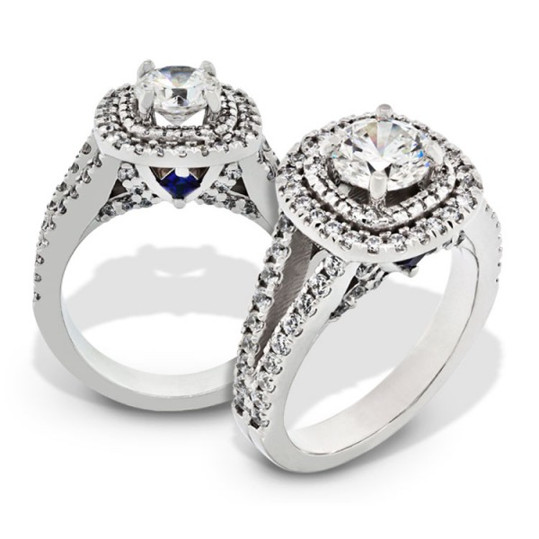 Double Halo Round Cut Engagement Ring with Sapphire Accent
