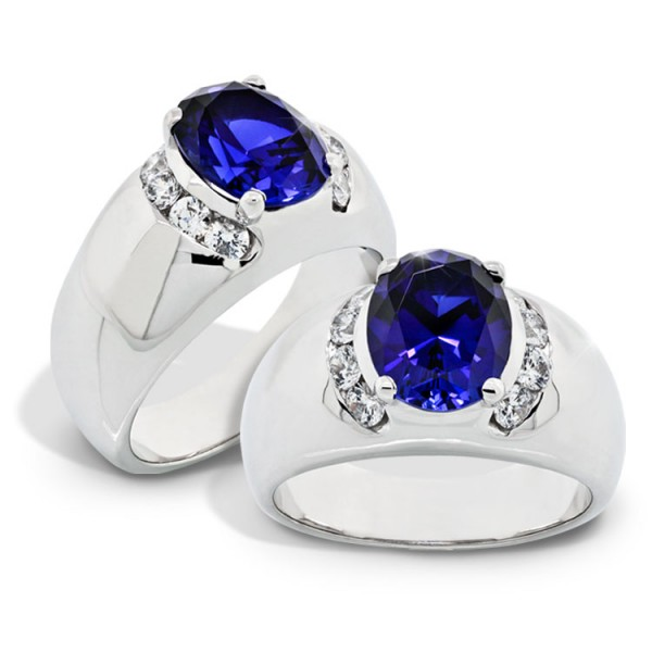 Oval Cut Sapphire Engagement Ring with Accents - 14k White Gold