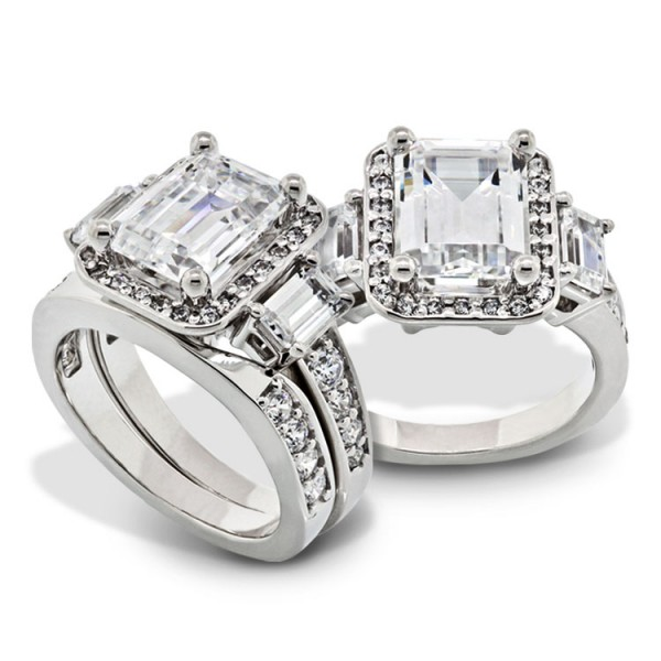 Three Stone Emerald Cut Engagement Ring with Matching Band - 18 White Gold