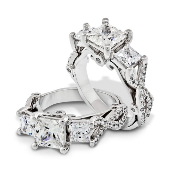 Twisted Three Stone Princess Cut Engagement Ring - 14k White Gold