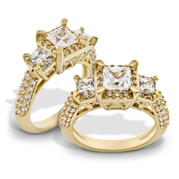 Three Stone Princess Cut Engagement Right with Bow Tie Detaling - 14k Yellow Gold
