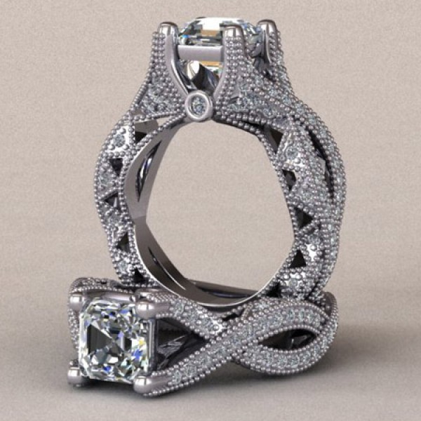 Vintage Twisted Band Engagement Ring - 14k White Gold