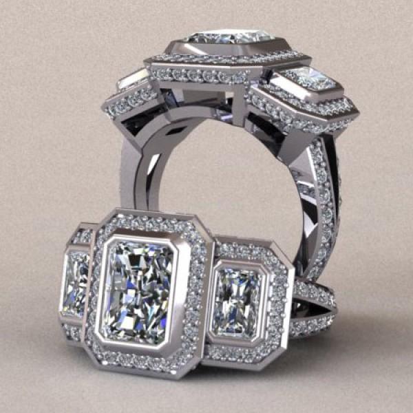 Three Stone Radiant Halo Engagement Ring - 14k White Gold