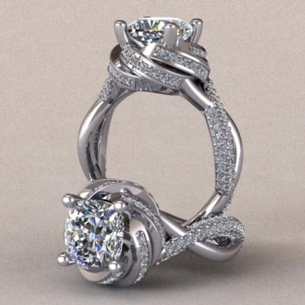 Swirled Pave Set Engagement Ring - 14k White Gold