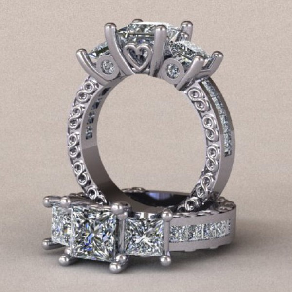 Three Stone Princess Cut Engagement Ring with Heart and Infinity Symbol Detailing - 14k White Gold