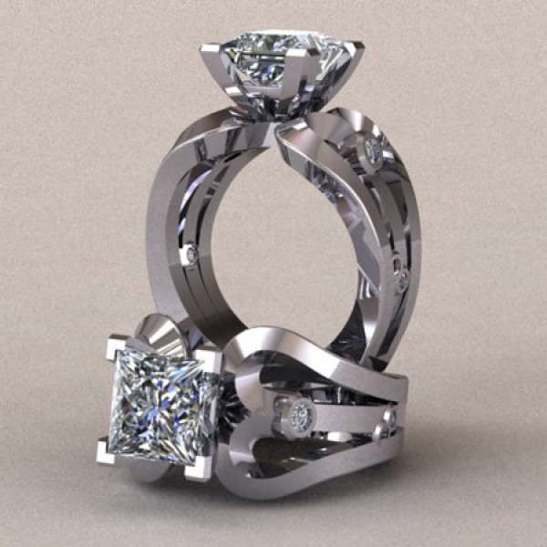 Looped Band Engagement Ring with Princess Cut Center - 14k White Gold