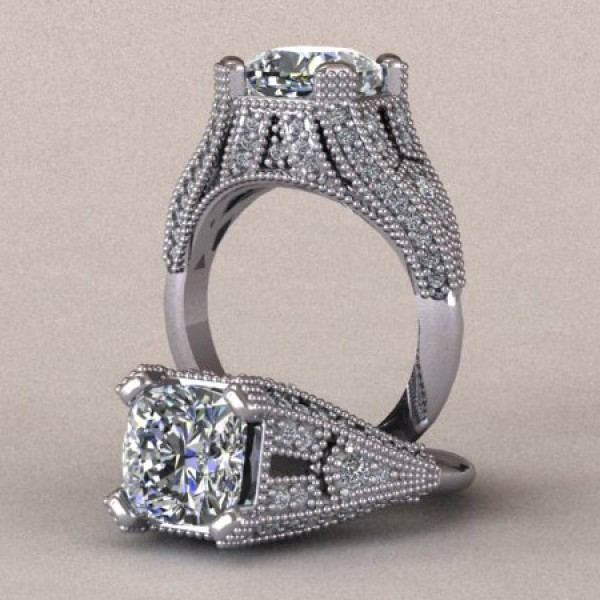 Vintage Engagement Ring with Millgrain Detailing - 14k White Gold