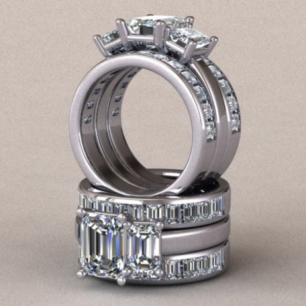 Three Stone Emerald Cut Engagement Ring with Emerald Accents - 14k White Gold