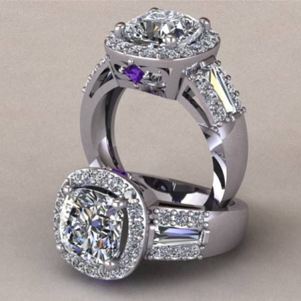 Halo Engagement Ring with Amethyst Accents - 14k White Gold