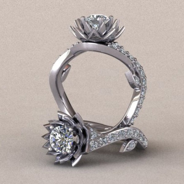Lotus Flower Engagement Ring - 14k White Gold