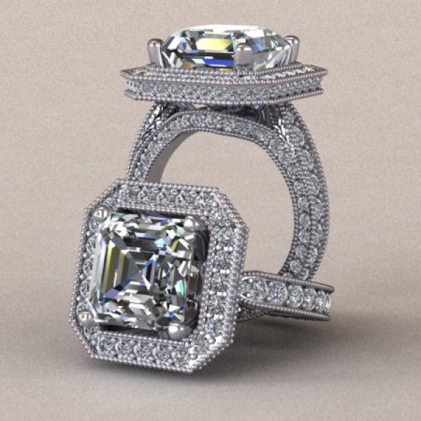Asscher Cut Halo Engagement Ring with Millgrain Detailing - 14k White Gold