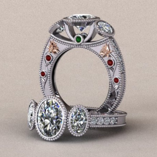 Three Stone Oval Engagement Ring with Ruby and Emerald Accents - 14k White and Rose Gold