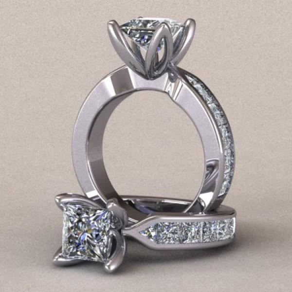 Tulip Set Princess Cut Engagement Ring - 14k White Gold