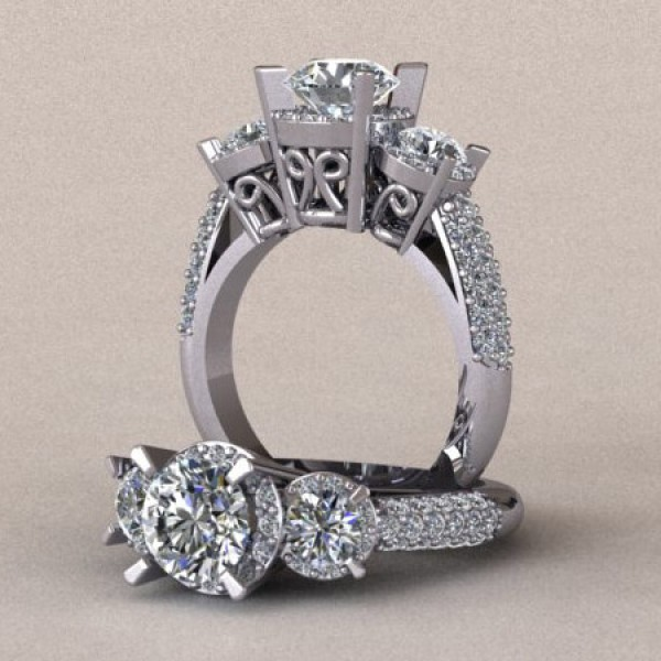 Three Stone Halo Engagement Ring with Pave-Set Accents - 14k White Gold