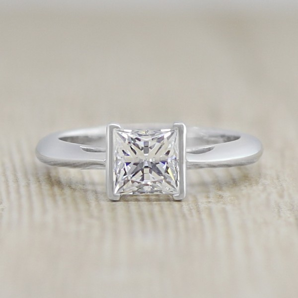 Jayne with 0.99 carat Princess Center - 14k White Gold - Ring Size 4.5-7.5